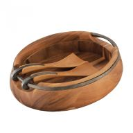ANVIL OVAL WOOD SALAD BOWL W/SERVERS